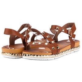 Anesia Paris Brązowe Sandały Z Ćwiekami 2