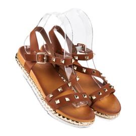 Anesia Paris Brązowe Sandały Z Ćwiekami 1