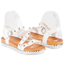 Anesia Paris Białe Sandały Z Ćwiekami 1
