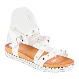 Anesia Paris Białe Sandały Z Ćwiekami 2