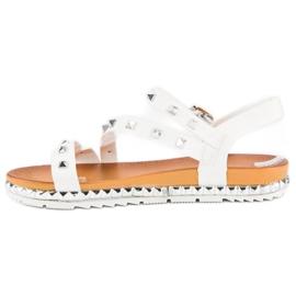 Anesia Paris Białe Sandały Z Ćwiekami 3