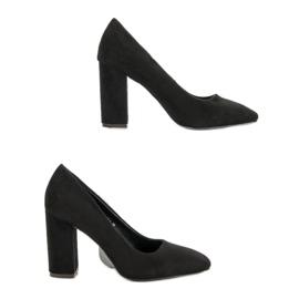Sweet Shoes Zamszowe Czółenka Na Słupku czarne 1