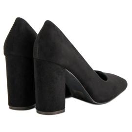 Sweet Shoes Zamszowe Czółenka Na Słupku czarne 2