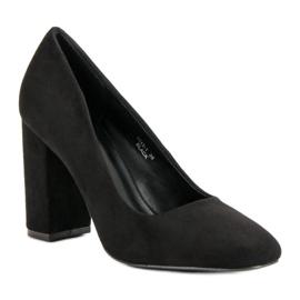 Sweet Shoes Zamszowe Czółenka Na Słupku czarne 3