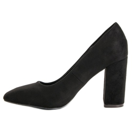 Sweet Shoes Zamszowe Czółenka Na Słupku czarne 4