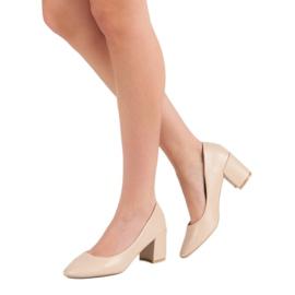 Ideal Shoes Klasyczne Beżowe Czółenka beżowy 4