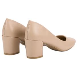 Ideal Shoes Klasyczne Beżowe Czółenka beżowy 1