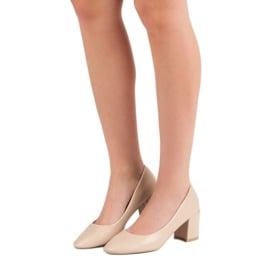 Ideal Shoes Klasyczne Beżowe Czółenka beżowy 3