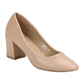 Ideal Shoes Klasyczne Beżowe Czółenka beżowy 5