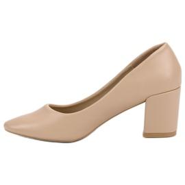 Ideal Shoes Klasyczne Beżowe Czółenka beżowy 6