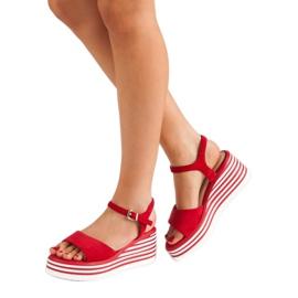Vinceza Wygodne Sandały Na Koturnie czerwone 2
