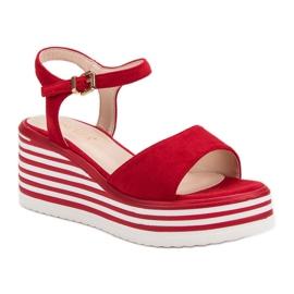 Vinceza Wygodne Sandały Na Koturnie czerwone 3