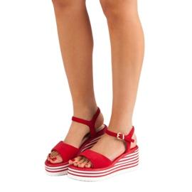 Vinceza Wygodne Sandały Na Koturnie czerwone 1