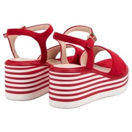 Vinceza Wygodne Sandały Na Koturnie czerwone 5