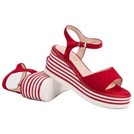 Vinceza Wygodne Sandały Na Koturnie czerwone 6