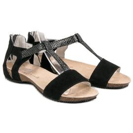 Skórzane Sandały VINCEZA czarne 5