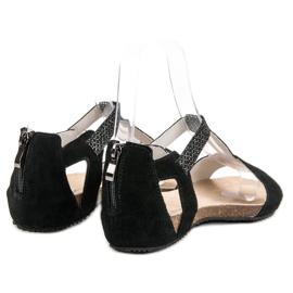 Skórzane Sandały VINCEZA czarne 4