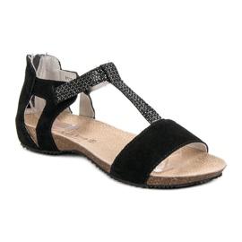 Skórzane Sandały VINCEZA czarne 2