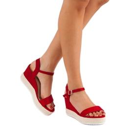 Seastar Wygodne Sandały Na Koturnie czerwone 2
