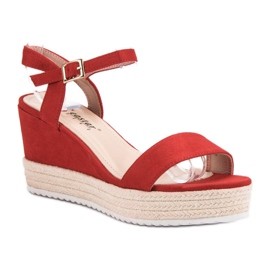Seastar Wygodne Sandały Na Koturnie czerwone 3
