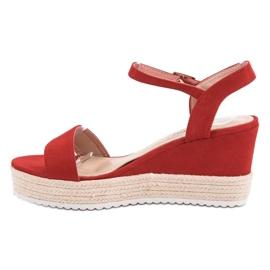 Seastar Wygodne Sandały Na Koturnie czerwone 4