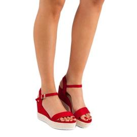 Seastar Wygodne Sandały Na Koturnie czerwone 1
