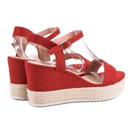 Seastar Wygodne Sandały Na Koturnie czerwone 5