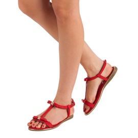 Sandałki Z Kokardką VINCEZA czerwone 3