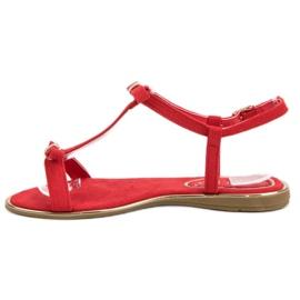 Sandałki Z Kokardką VINCEZA czerwone 5