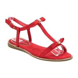 Sandałki Z Kokardką VINCEZA czerwone 4
