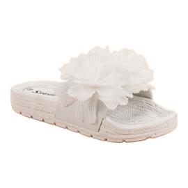 Seastar Białe Klapki Z Kwiatami 6