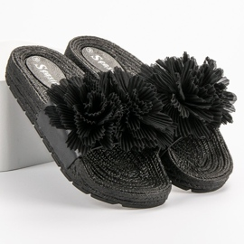 Seastar Czarne Klapki Z Kwiatami 6
