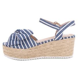 Seastar Sandały Na Koturnie Z Kokardką niebieskie 5