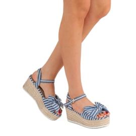 Seastar Sandały Na Koturnie Z Kokardką niebieskie 1