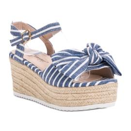 Seastar Sandały Na Koturnie Z Kokardką niebieskie 4
