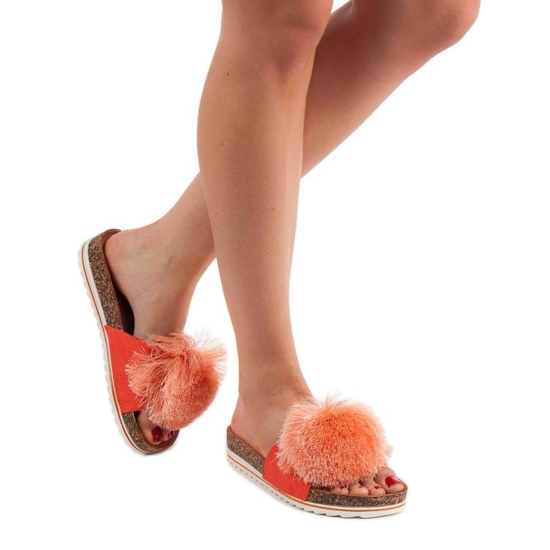 Seastar pomarańczowe Klapki Z Pomponem zdjęcie 2