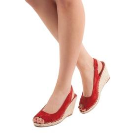 Seastar Sandały Na Koturnie czerwone 1