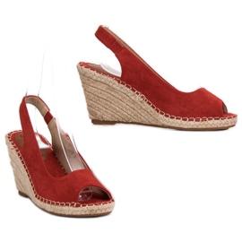 Seastar Sandały Na Koturnie czerwone 5