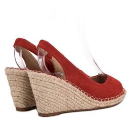 Seastar Sandały Na Koturnie czerwone 4