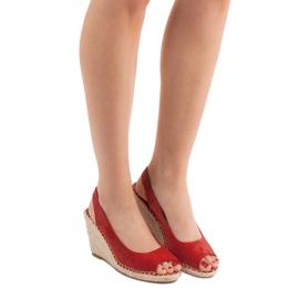 Seastar Sandały Na Koturnie czerwone 6