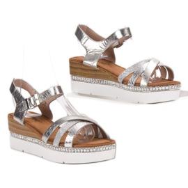 Seastar Modne Sandały Z Cyrkoniami szare 4