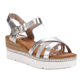 Seastar Modne Sandały Z Cyrkoniami szare 2