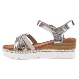 Seastar Modne Sandały Z Cyrkoniami szare 3