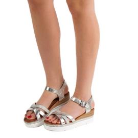 Seastar Modne Sandały Z Cyrkoniami szare 5