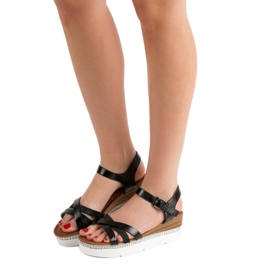 Seastar Modne Sandały Z Cyrkoniami czarne 1