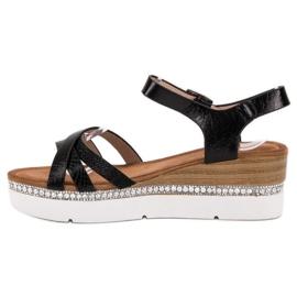 Seastar Modne Sandały Z Cyrkoniami czarne 6