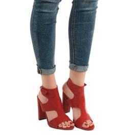 Ideal Shoes Seksowne Sandałki Na Obcasie czerwone 1