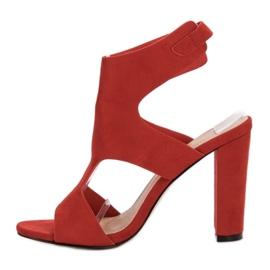 Ideal Shoes Seksowne Sandałki Na Obcasie czerwone 4