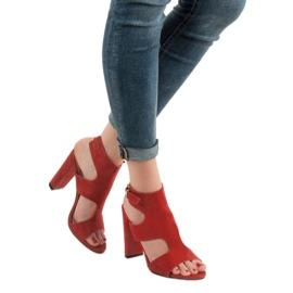 Ideal Shoes Seksowne Sandałki Na Obcasie czerwone 2