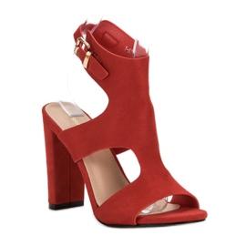 Ideal Shoes Seksowne Sandałki Na Obcasie czerwone 3